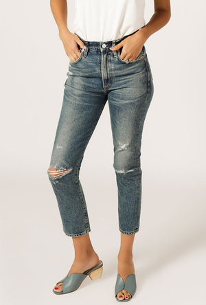 Dree Crop High Rise Zip Jean - Cameo