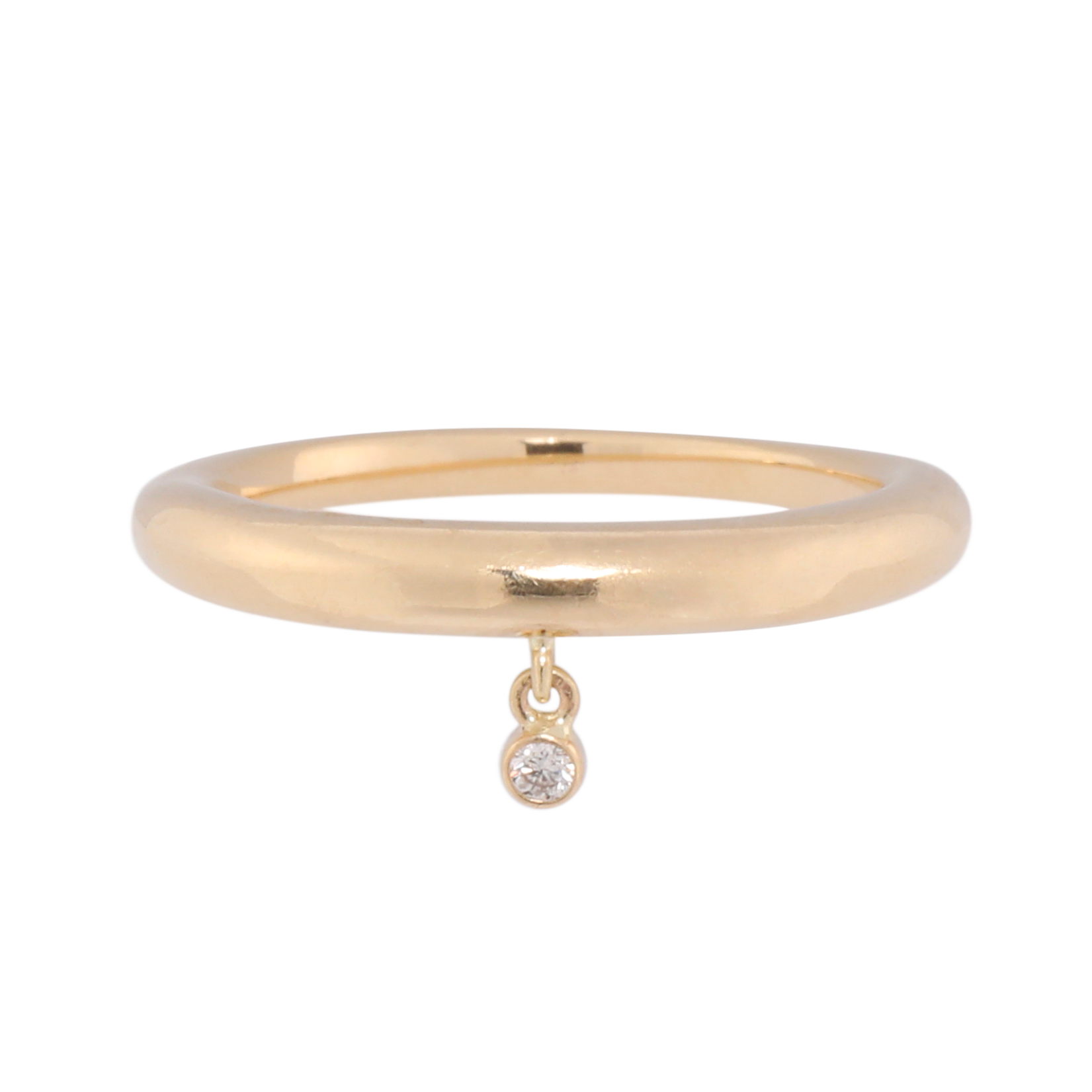 14k Diamond Drop Dome Ring