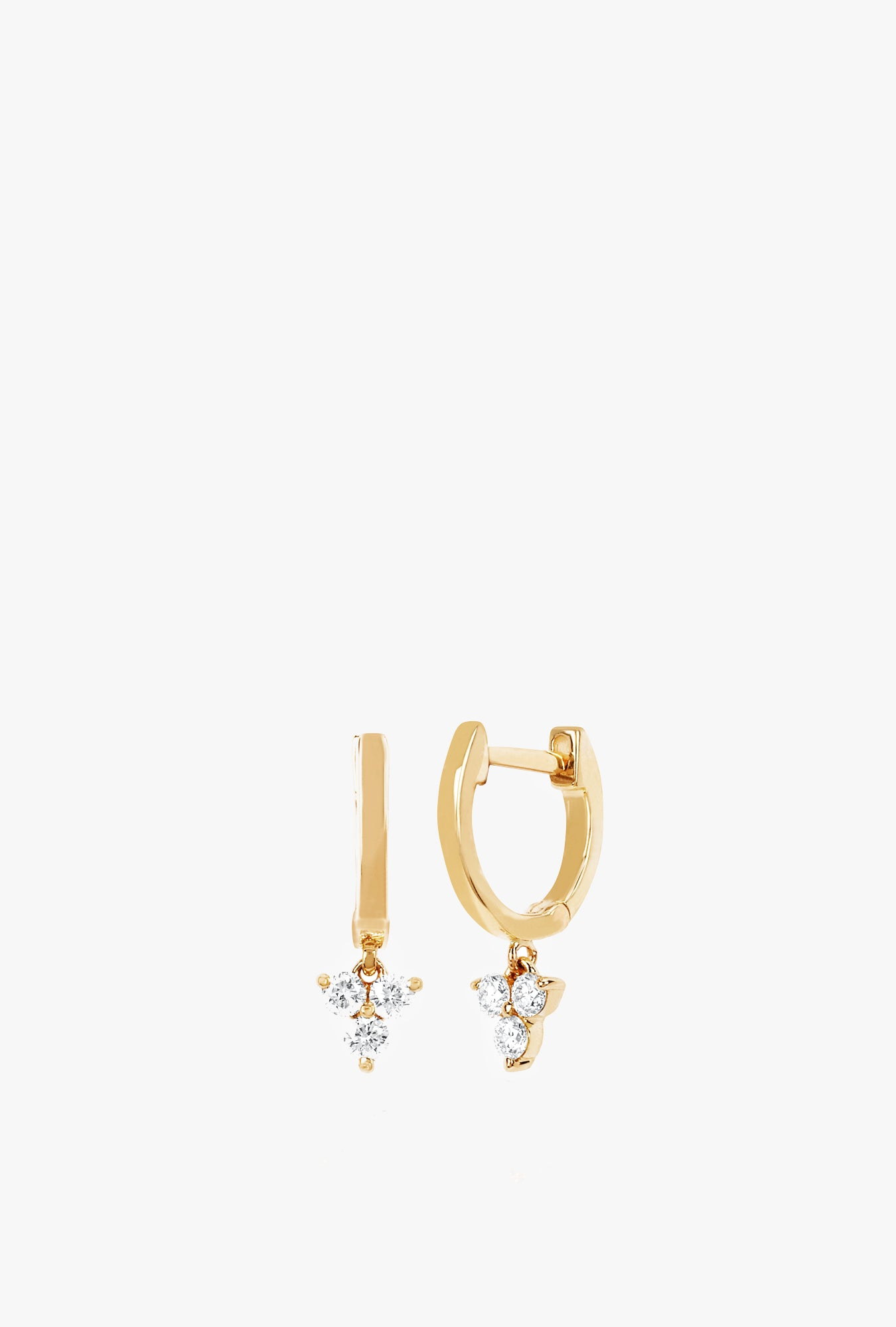 Gold Mini Huggie With Diamond Trio Drop Earrings