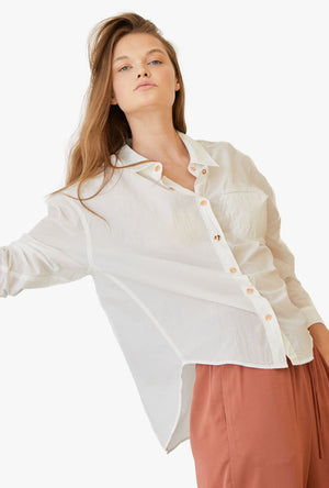 High-Low Hem Cotton Button Up Shirt