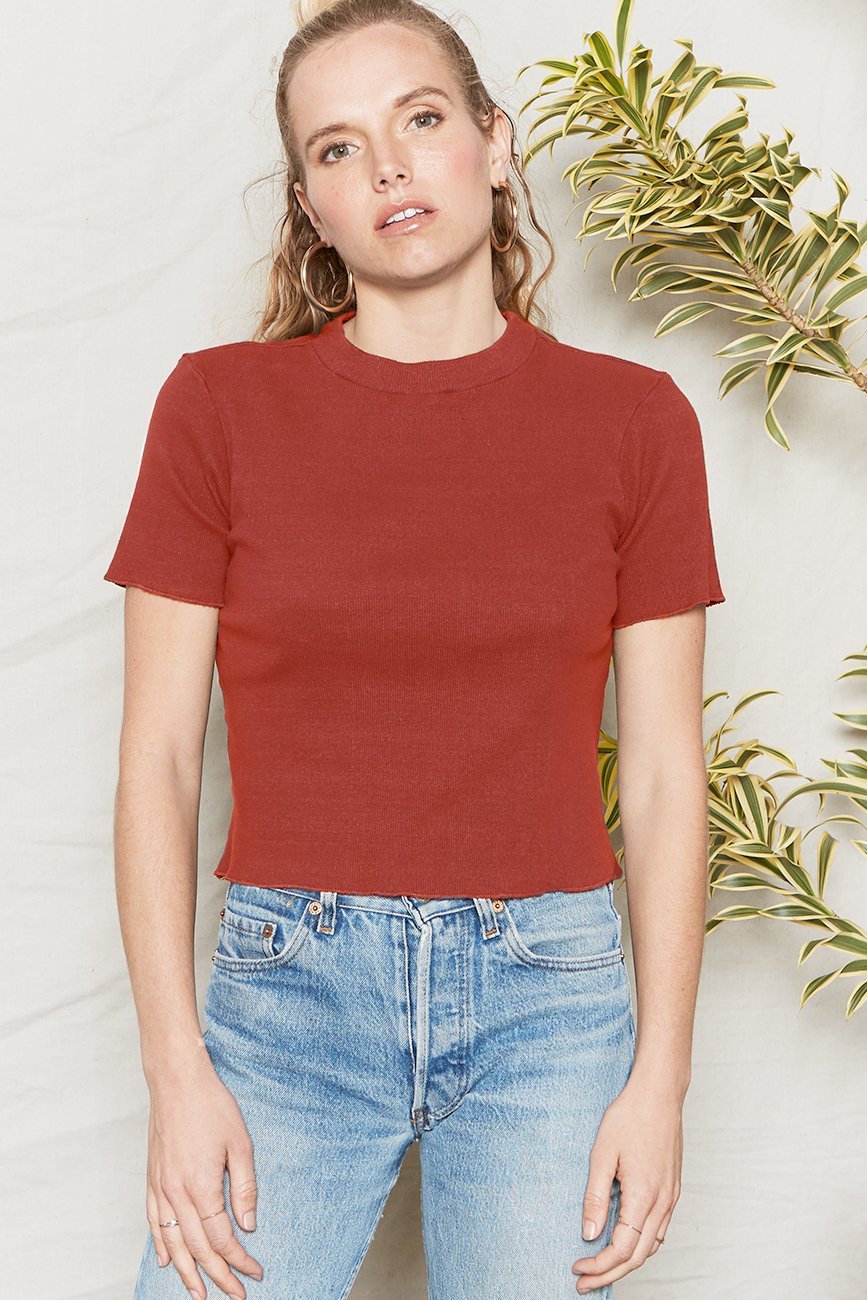 Organic Cotton Jazz Mock Neck Tee