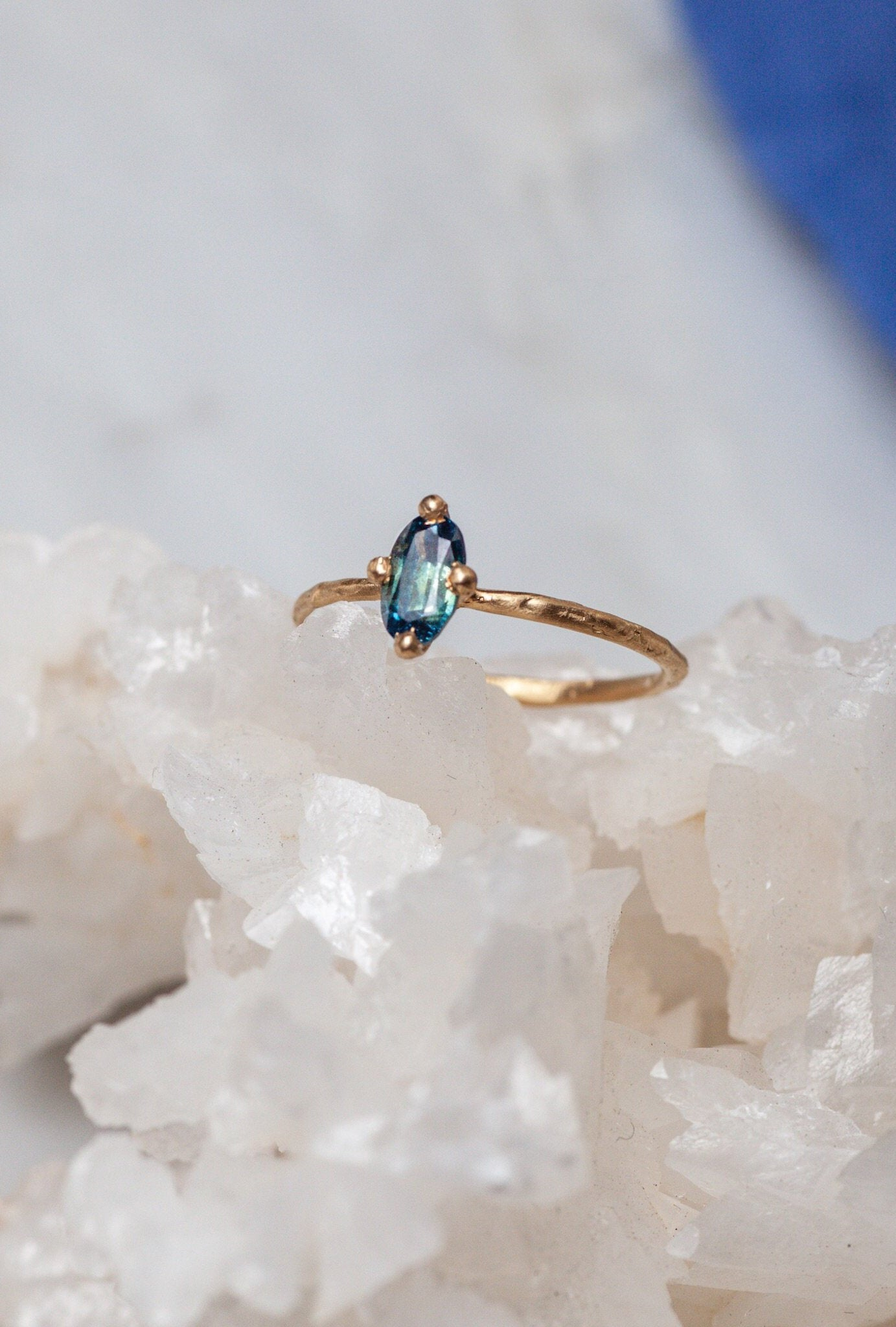 Oceanic Teal Sapphire Oval Solitaire