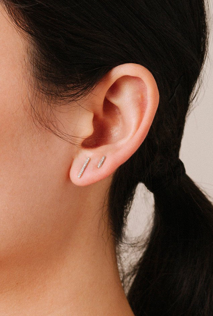 Pave Bar Post Earrings