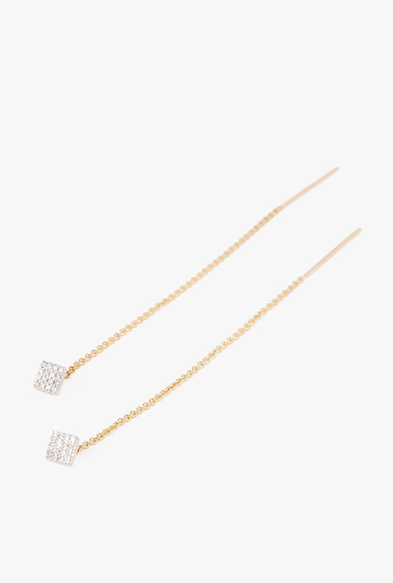 Pave Diamond Square Threader Earrings