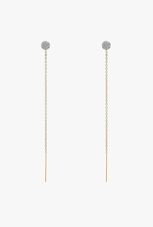 Pave Diamond Circle Threader Earrings