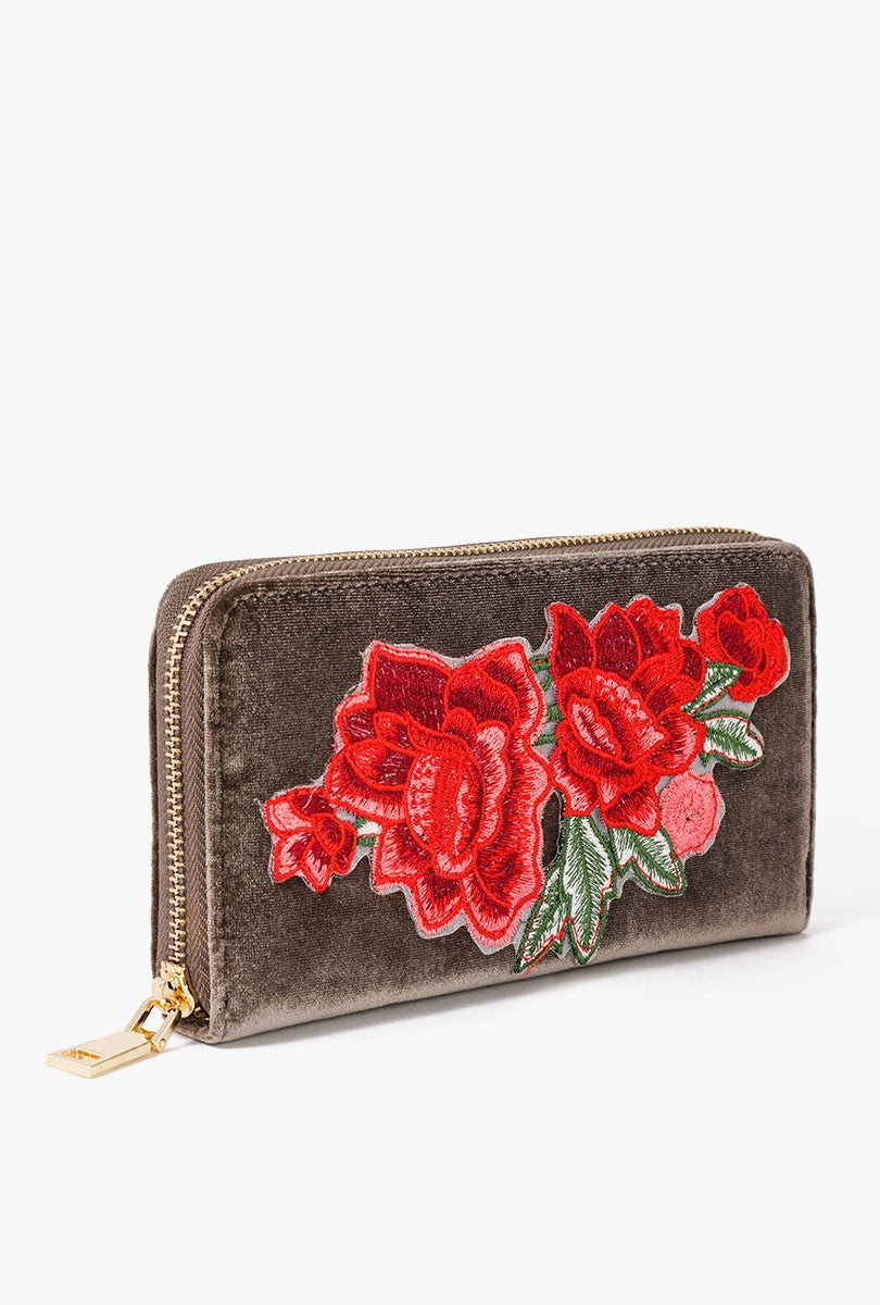 Rose Embroidered Clutch