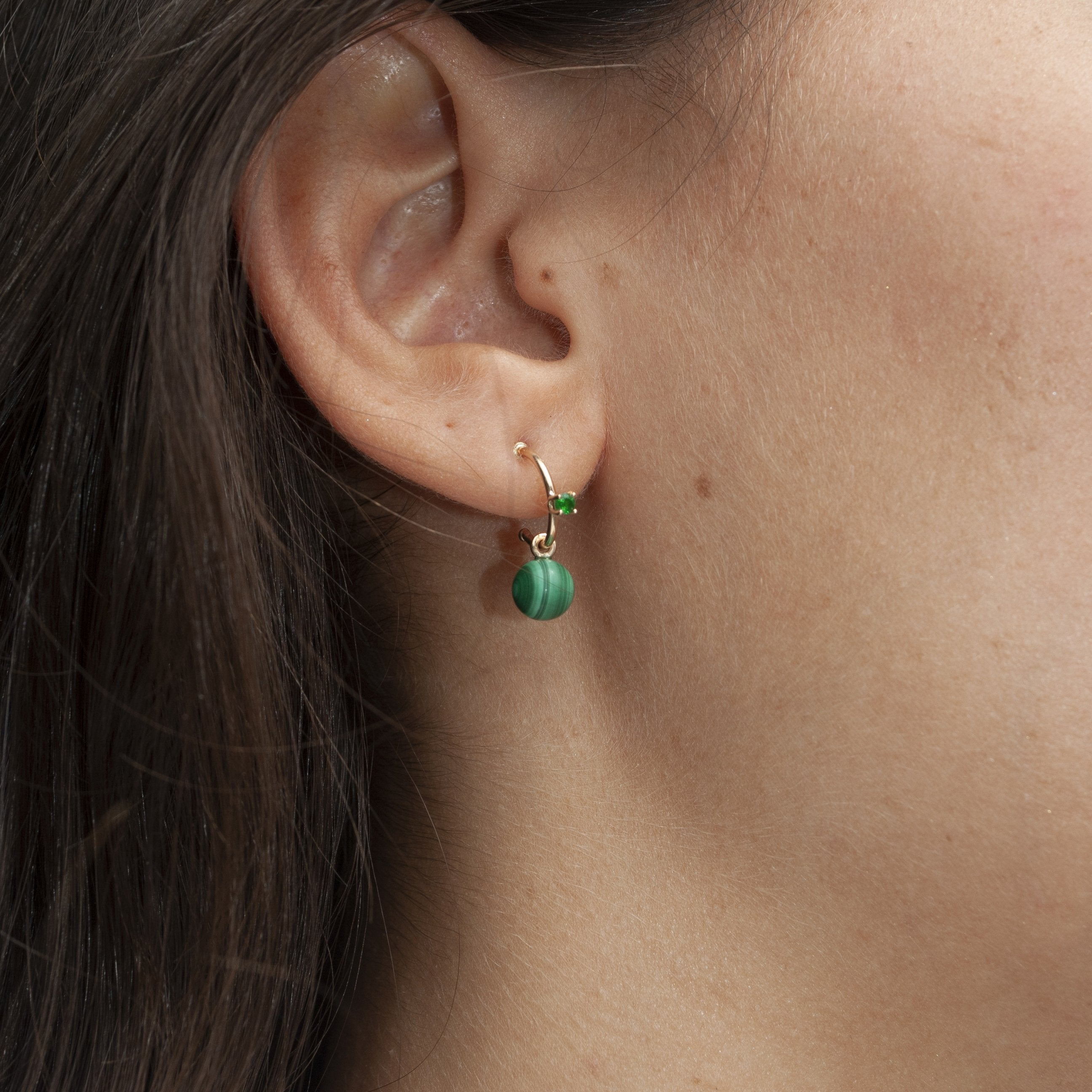 14k Emerald and Malachite Drop Hoops