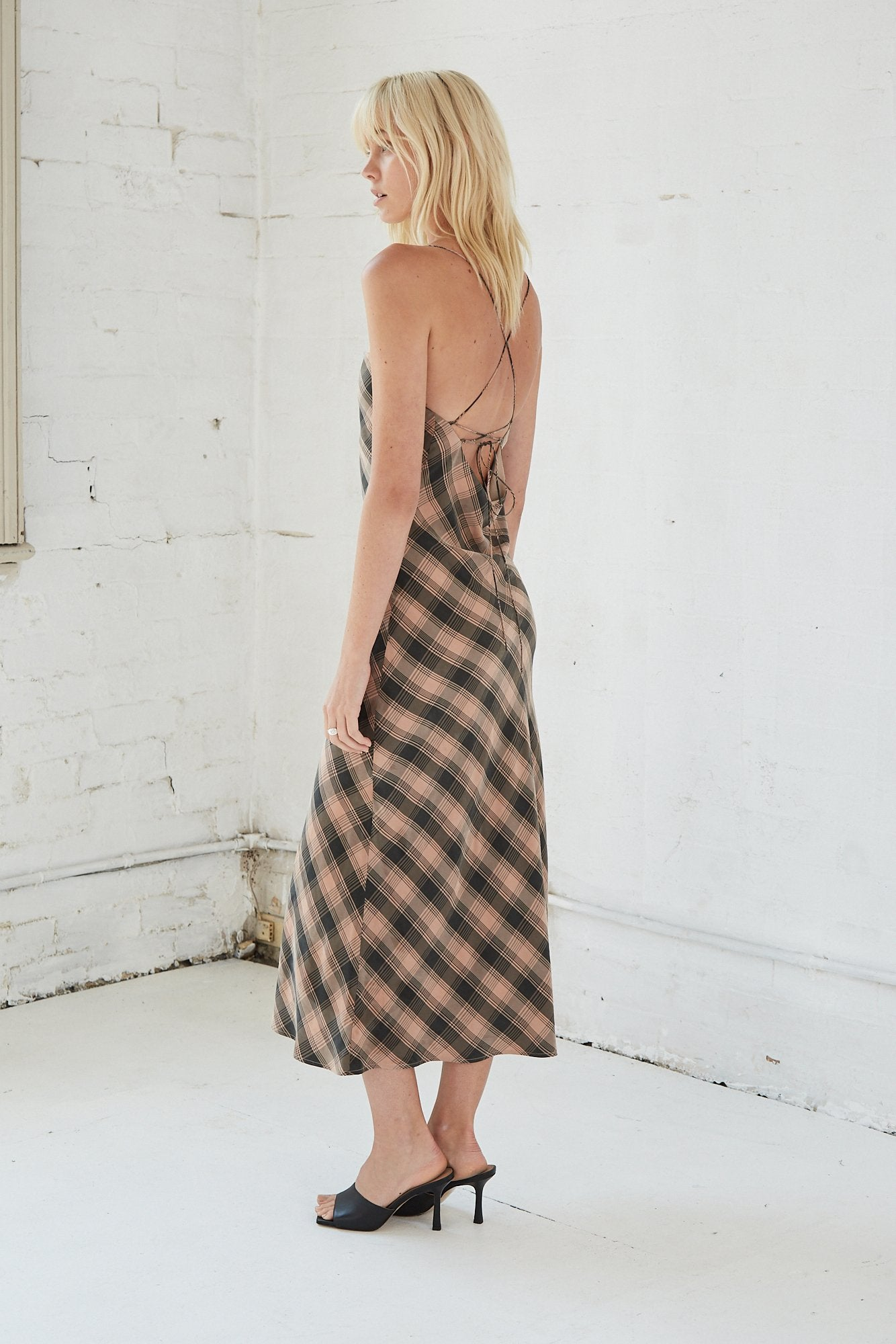 Checking Out Bias Slip Dress