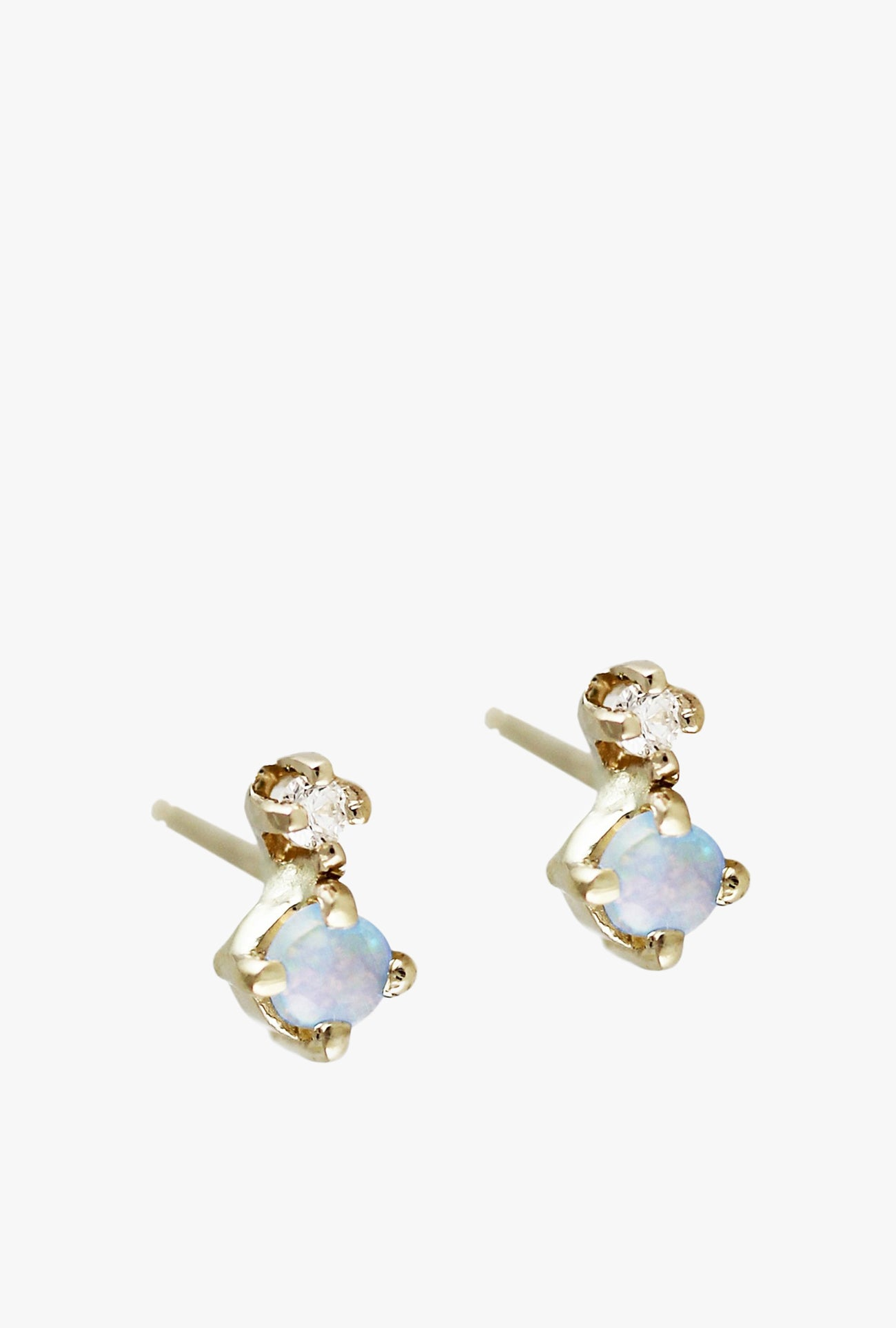 Tiny Opal And Diamond Stud Earrings P