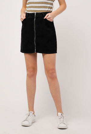 Zip Front Vintage Wash Skirt