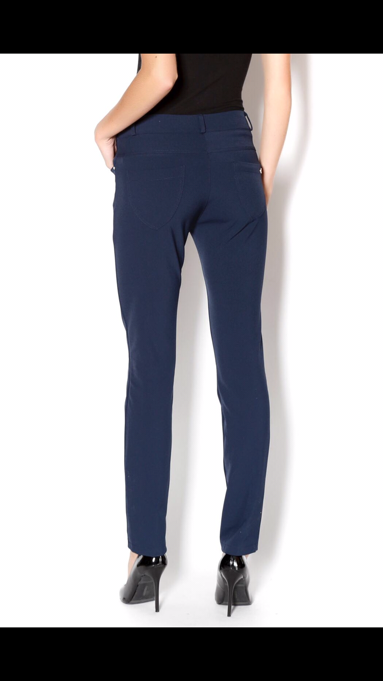 RINA NAVY SLIM LEG TROUSERS