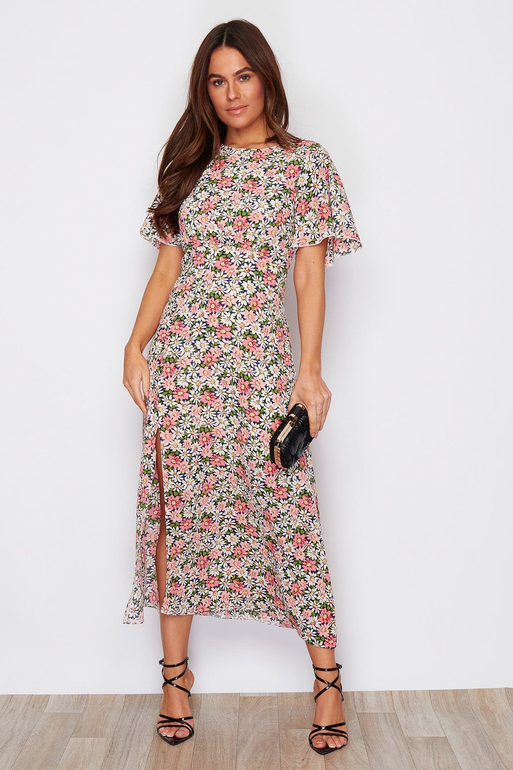 Britney Angel Sleeve Split Leg Midi Dress d Floral