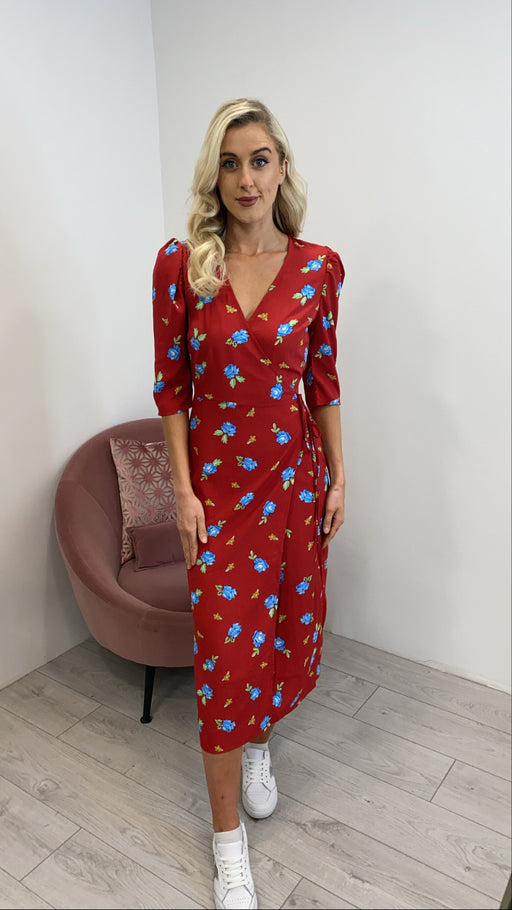 Red blue 5816 floral wrap dress