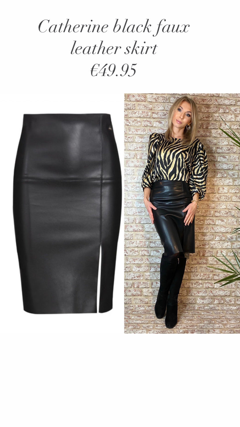 Catherine Black faux leather skirt