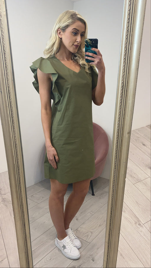 Mel khaki frill sleeve shift dress