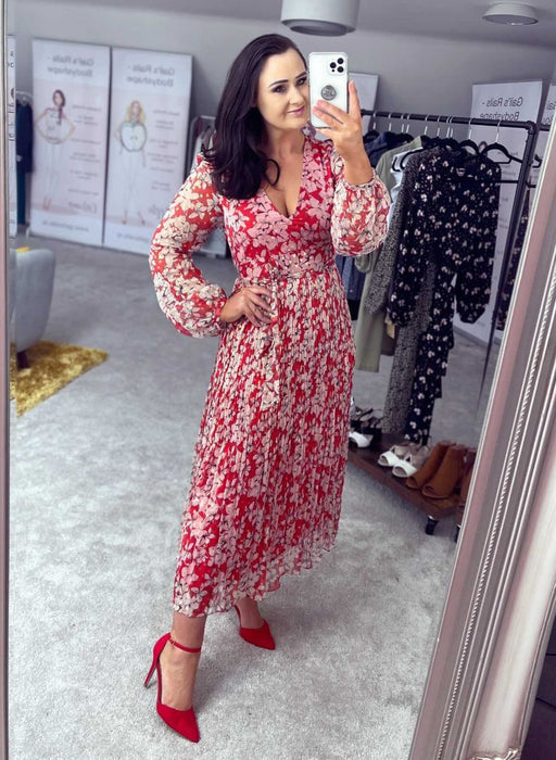 FATHOMLESS RED PINK FLORAL MIDI DRESS