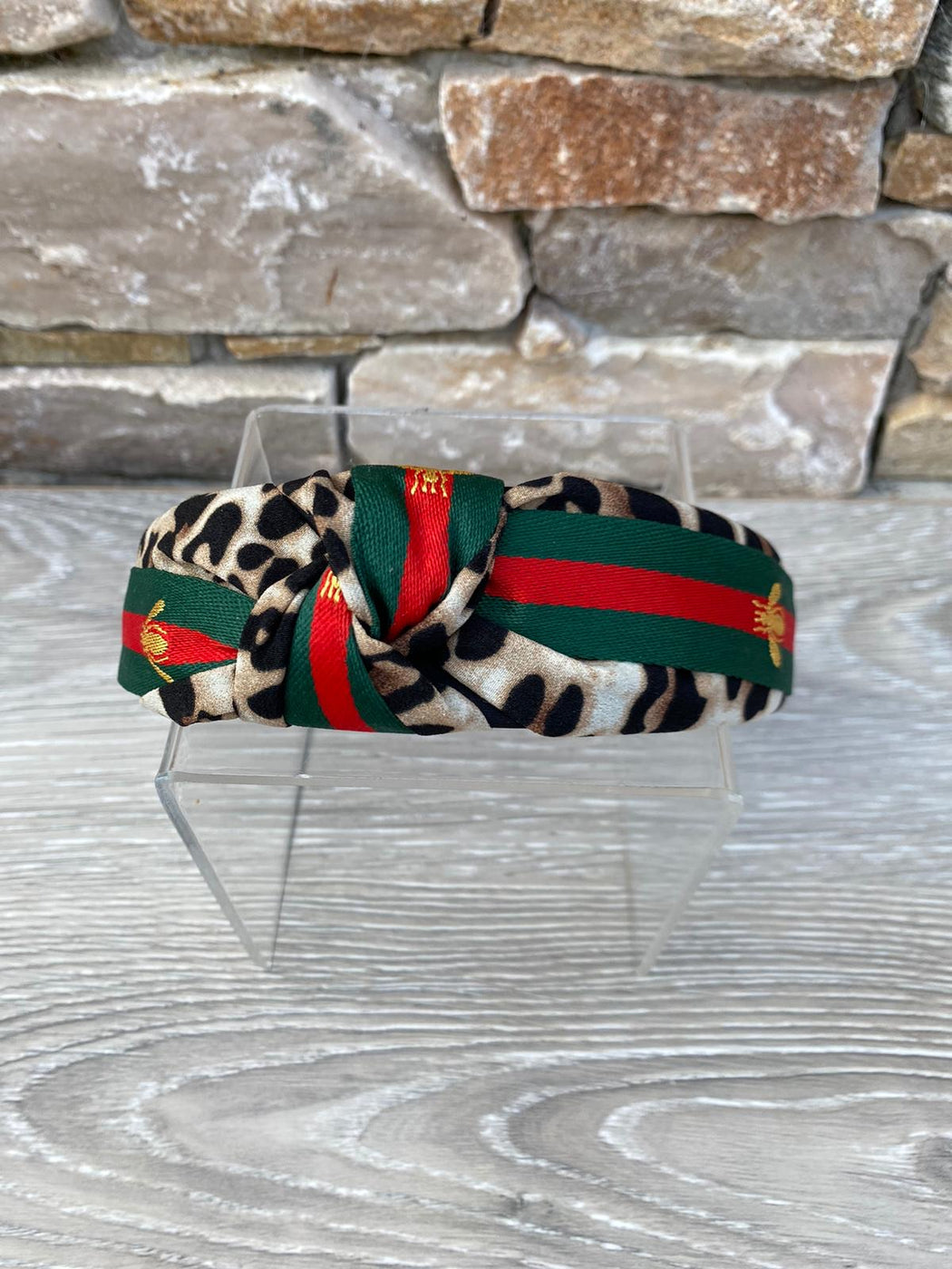 Brown leopard red green stripe