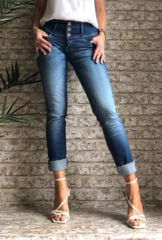 119088 Salsa Push Up Mystery Medium Waist Slim Leg Denim Jeans