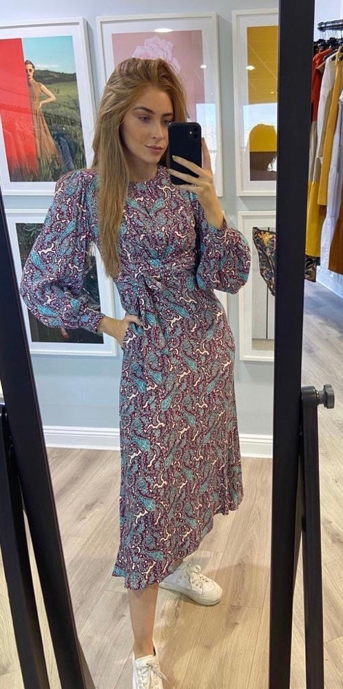 Puff sleeve paisley midi dress