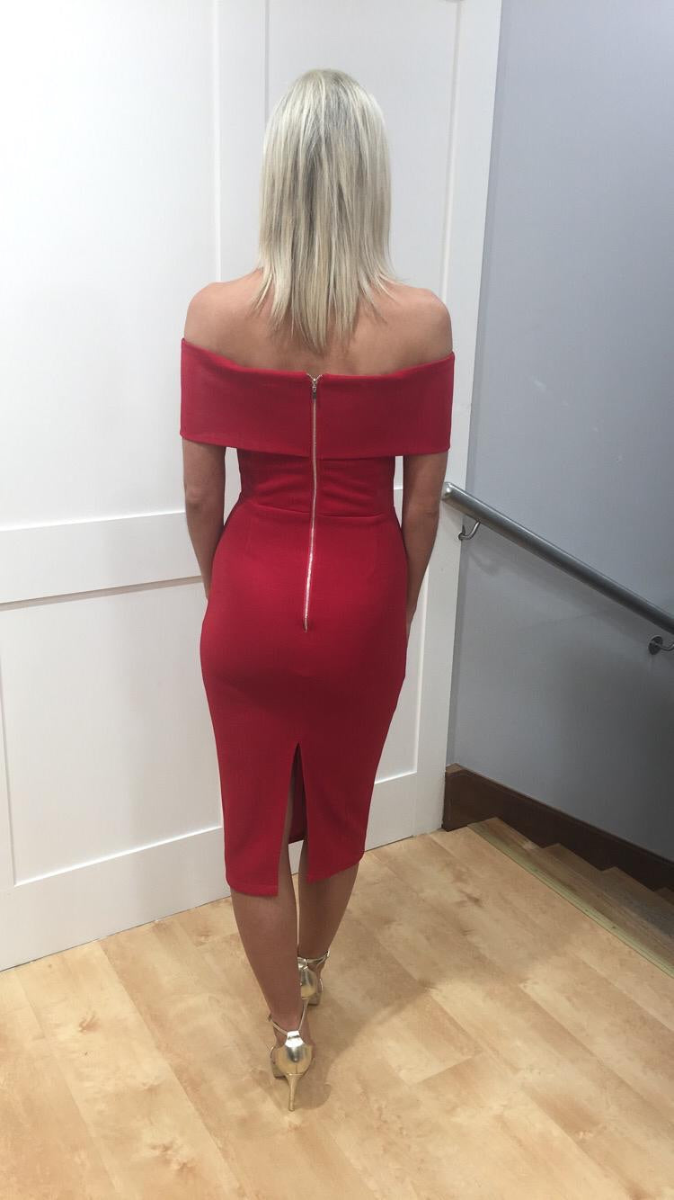 Red Bardot dress