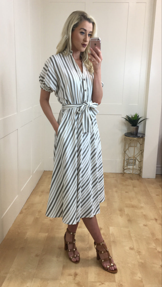 Lilly stripe pocket fit and flare dress