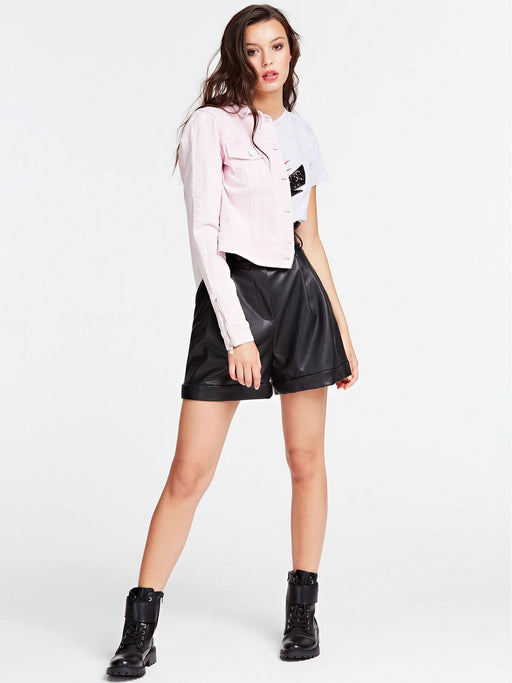 Amira Black  faux Leather Shorts