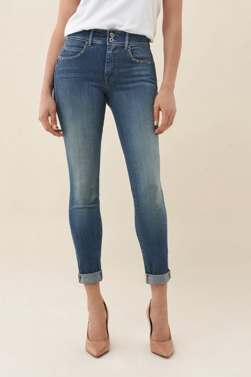123560 Salsa Push In High Waist Skinny Denim Jeans With Studs