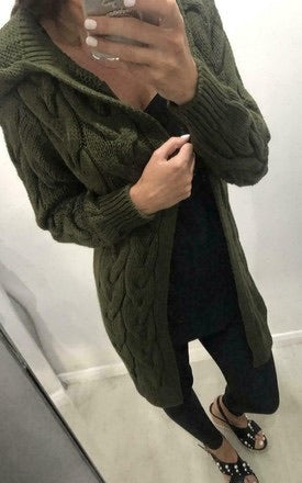 Green hooded cable knit cardi
