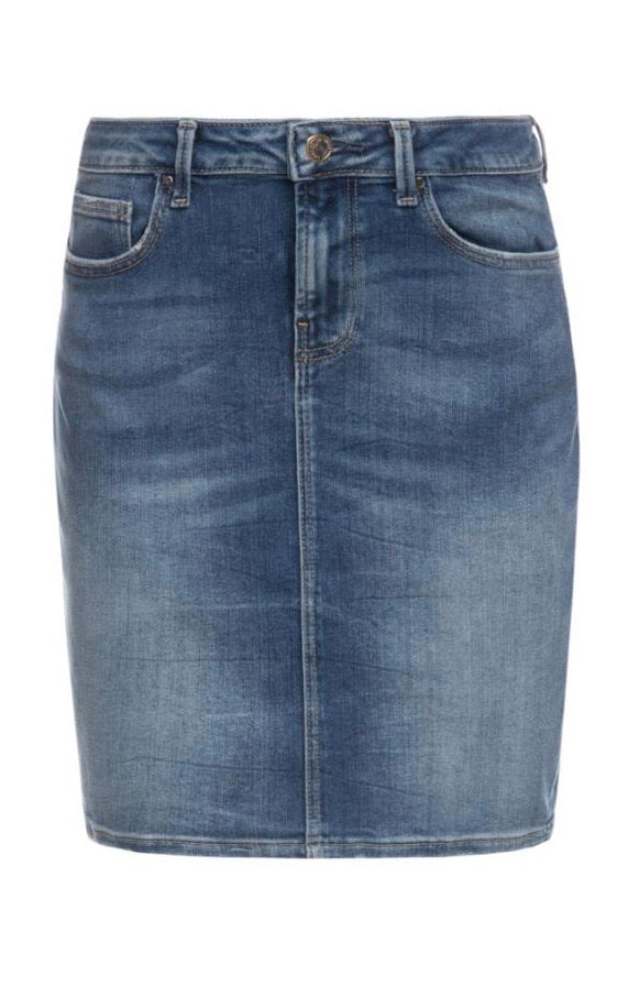Asia  mid blue Denim Midi Skirt