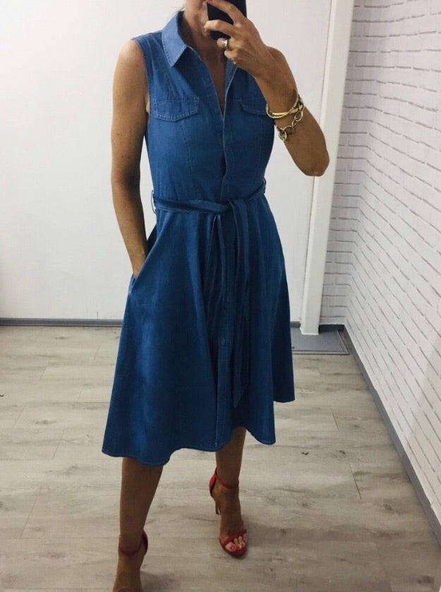 Denim Fit and Flare Dress
