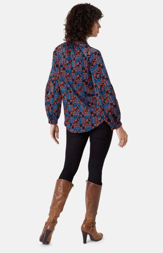 SILENCE SATIN LONG SLEEVE SHIRT IN BLUE AND RUST