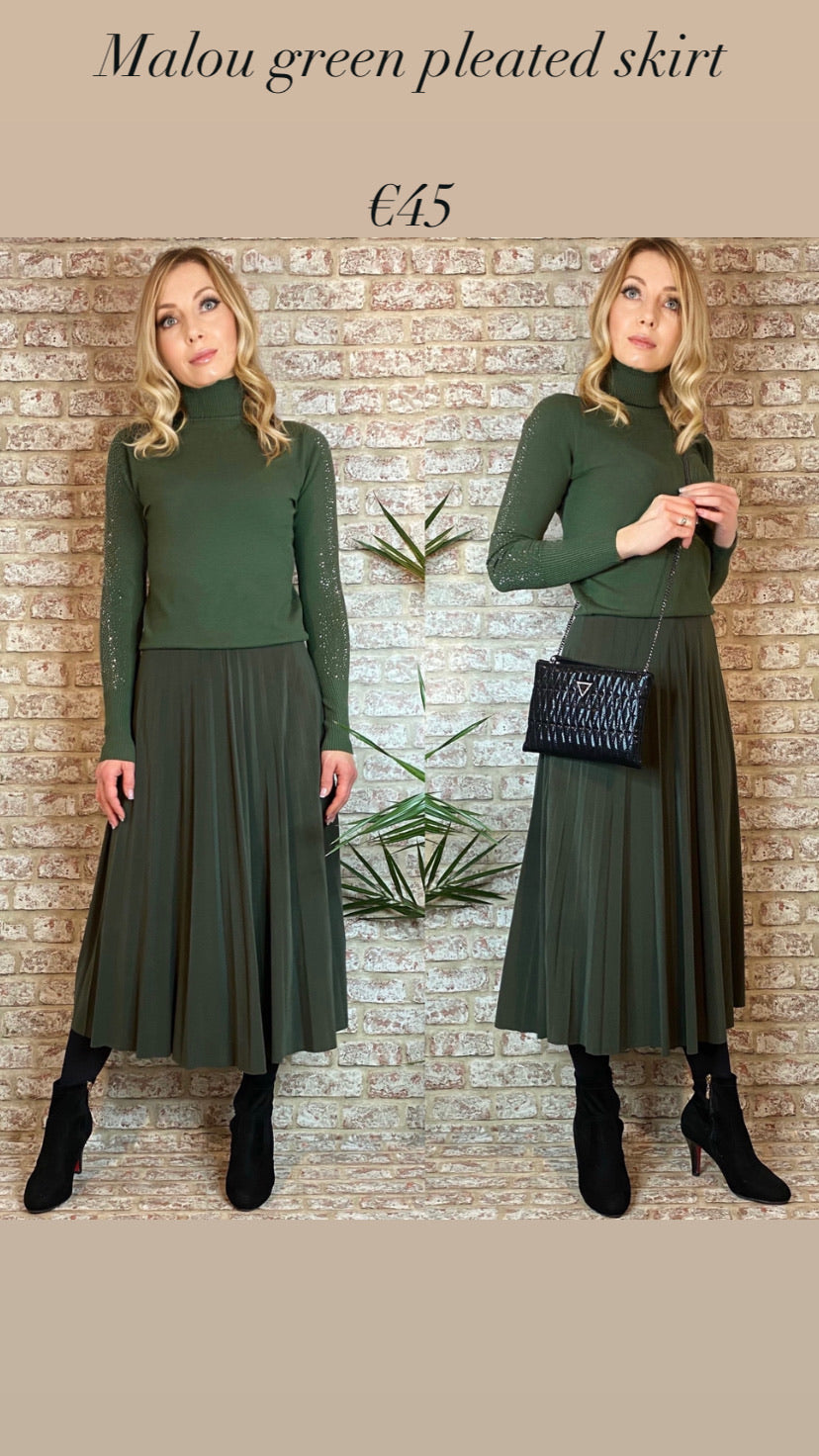 Malou green pleated skirt