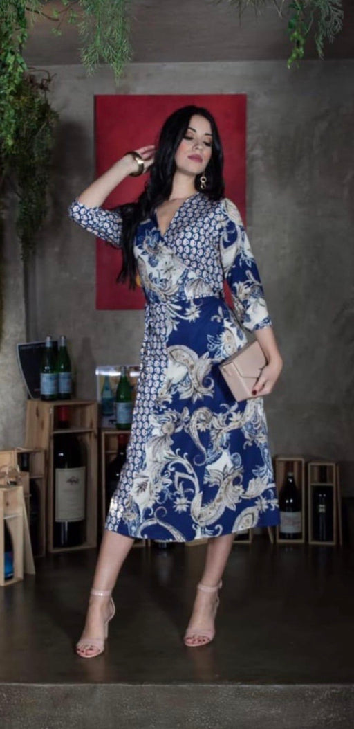 Firenze navy print dress