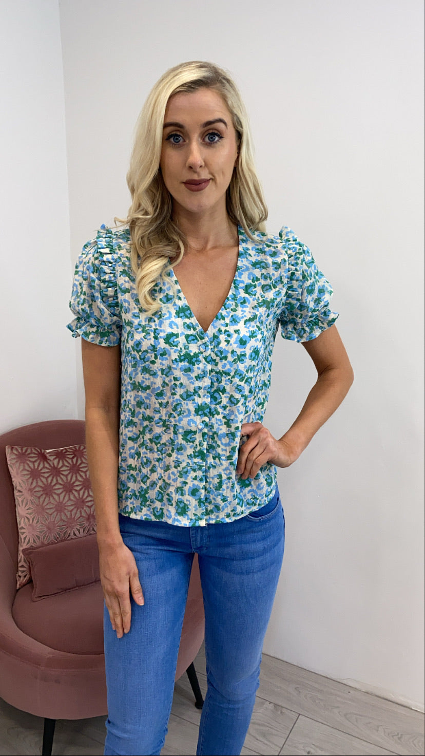 Macy green floral top