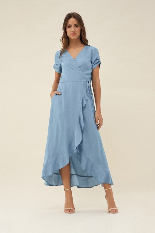 Denim Wrap Style Dress