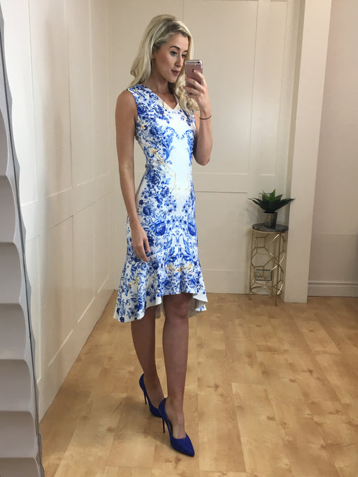 Azure blue dipped hem midi dress
