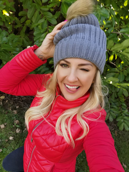 Grey fleece Hat multi Pom