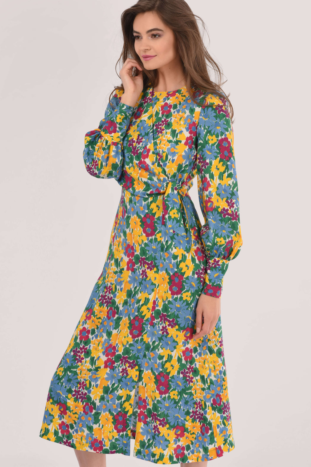 AlICE PUFF SLEEVE A-LINE FLORAL MIDI