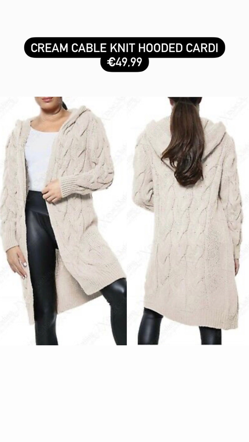 Cream cable knit hooded cardi