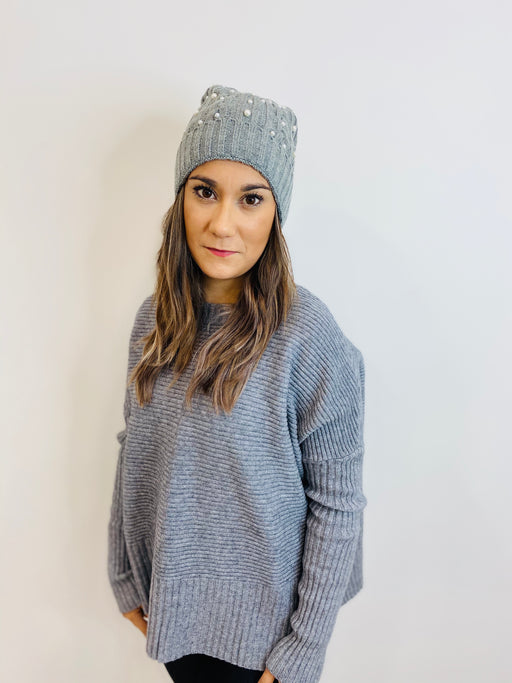 Iapearl Grey Knit Hat