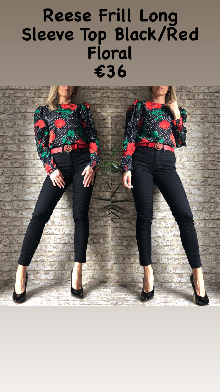 Reese Frill Long Sleeve Top Black/Red Floral