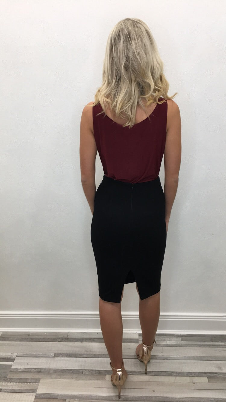 BLACK TASSLE PENCIL SKIRT