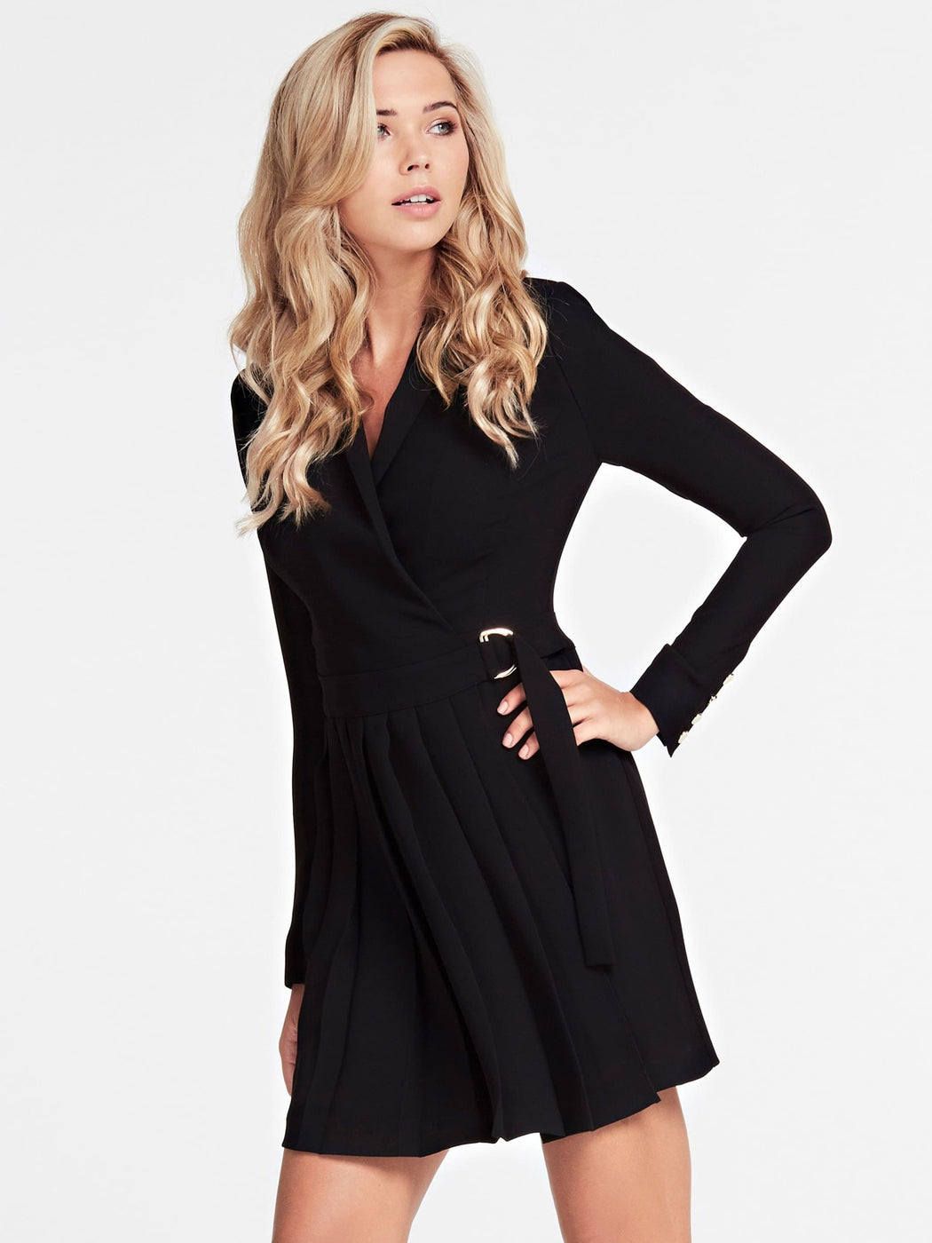 Pleated guess black dress