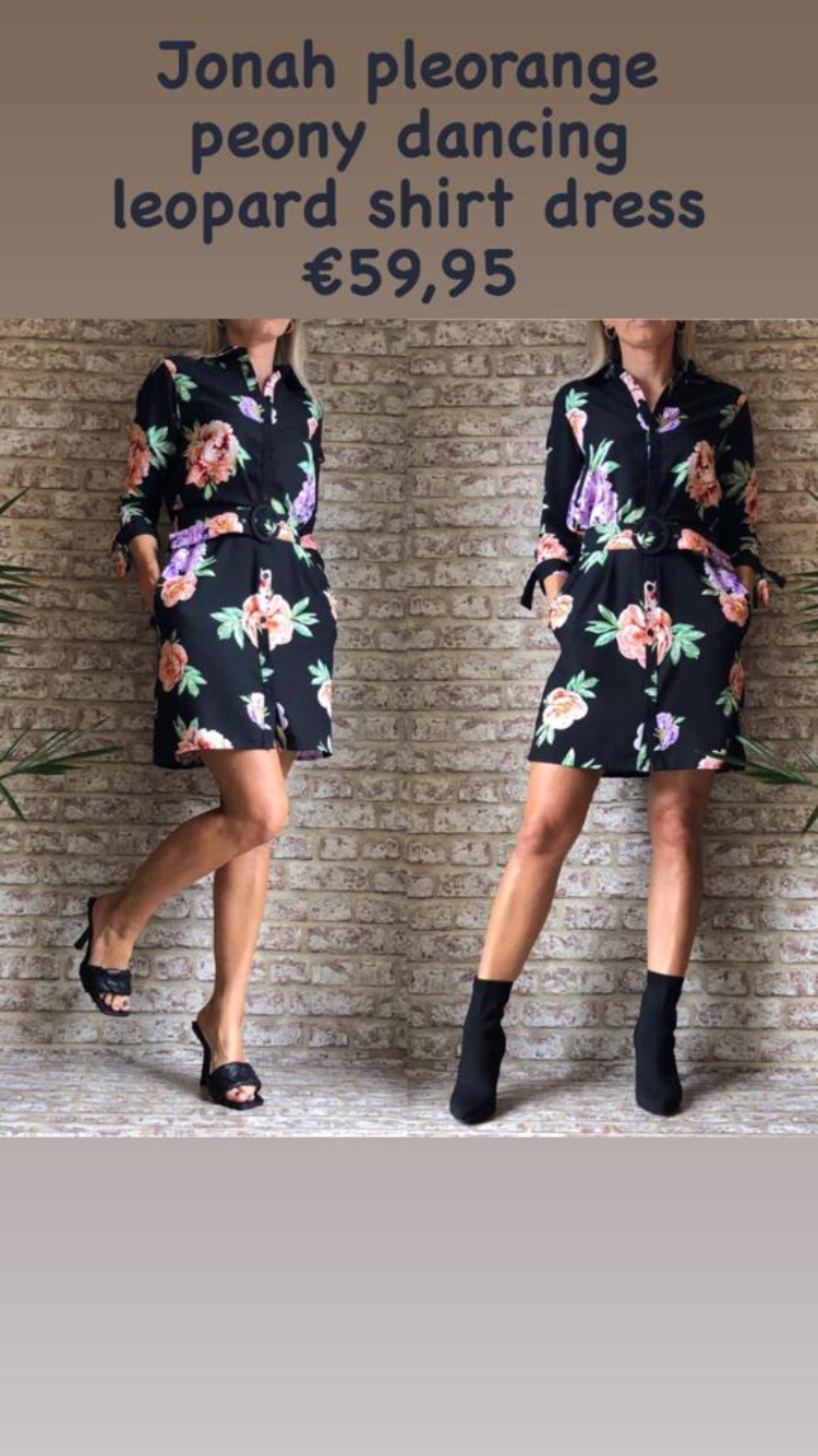 Jonah pleorange peony dancing leopard shirt dress