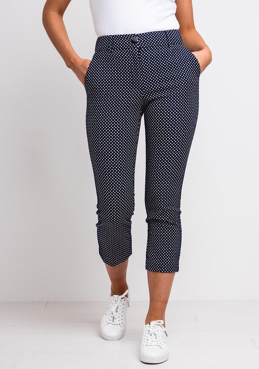 Zoe Capri Navy Polka Dot Trousers