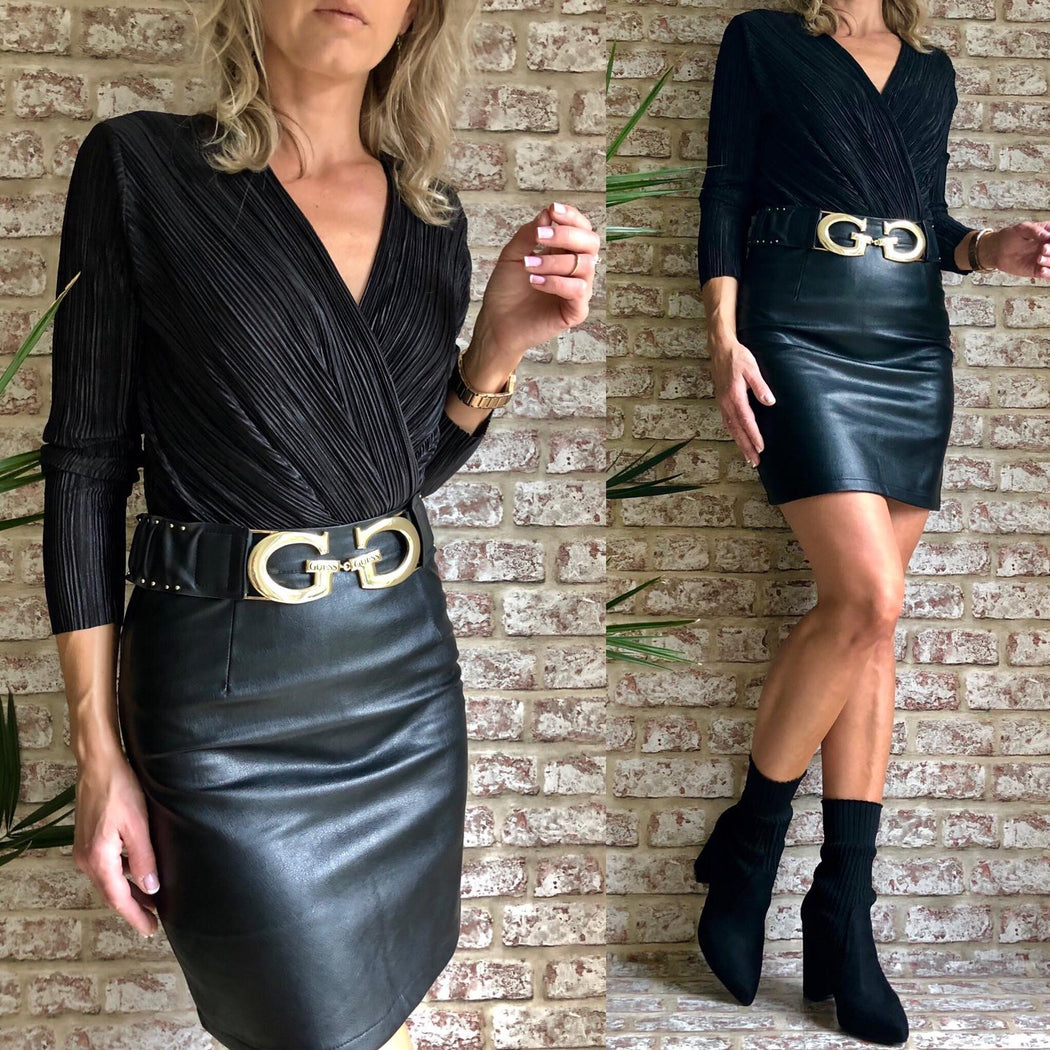 Black PU Leather Skirt