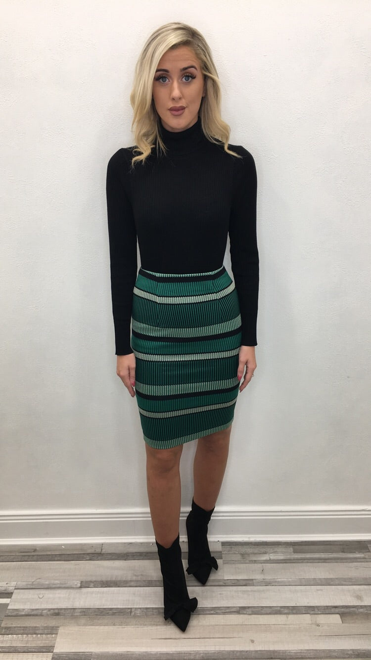 GREEN AND GOLD STRIPPED MIDI SKIRT