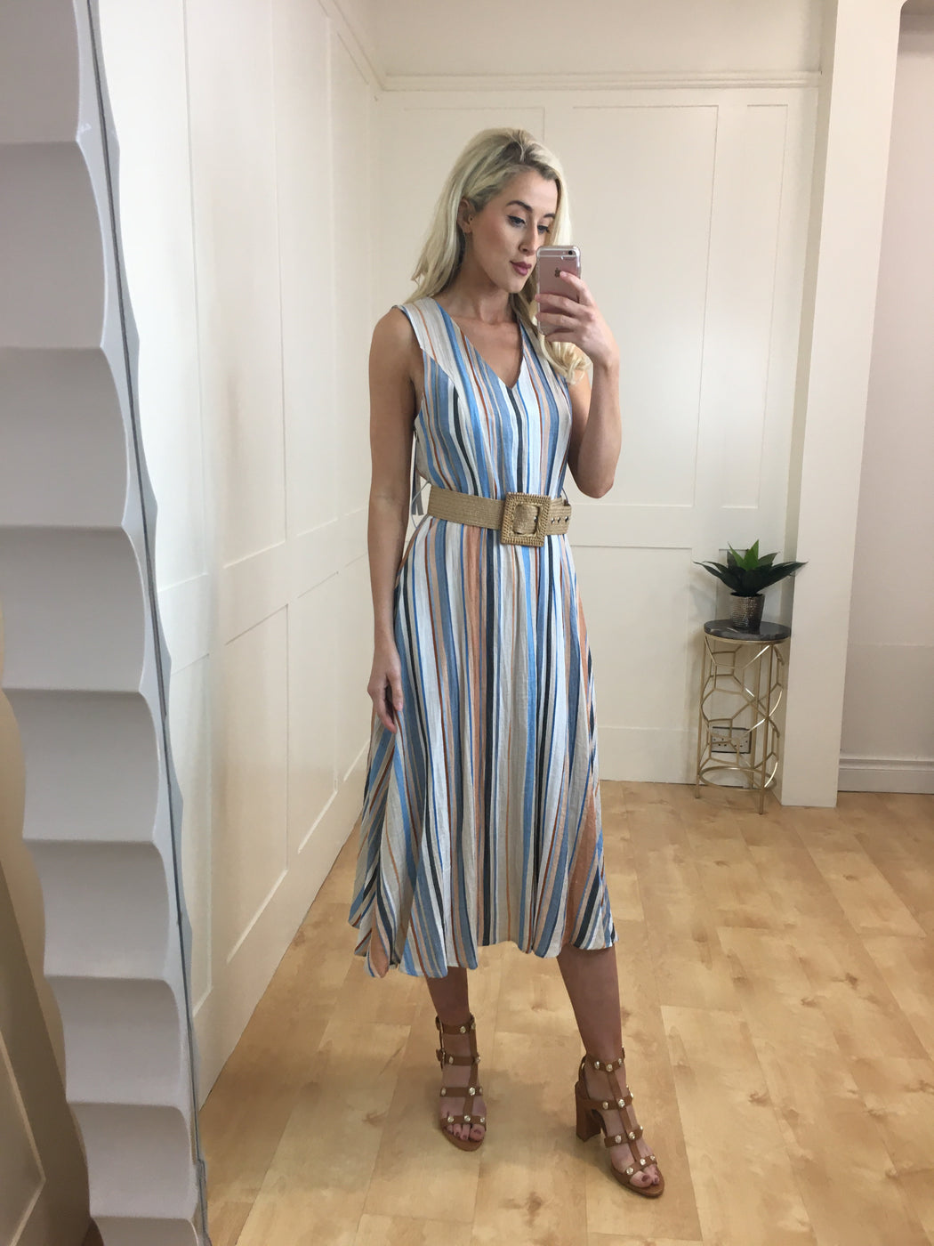 Cintira stripe belted midi dress