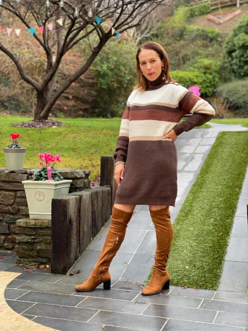 Dionede Brown cream knit jumper dress