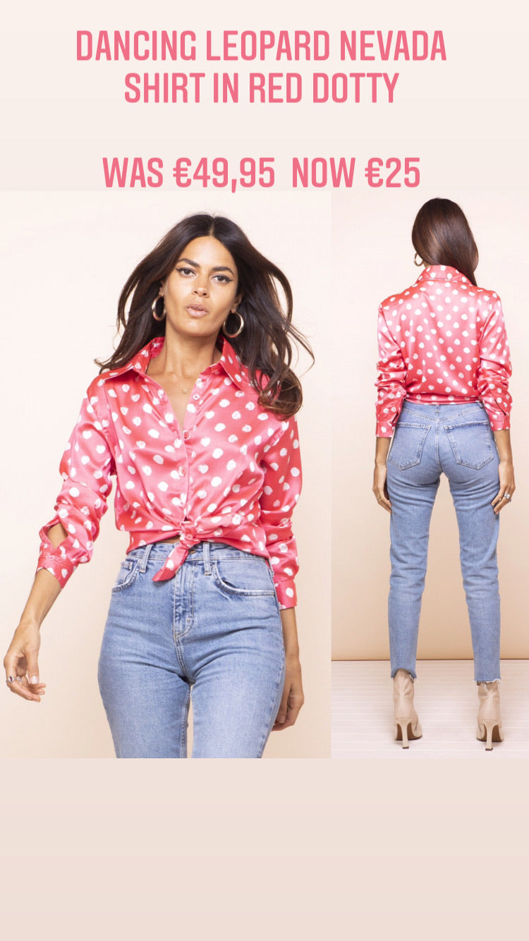 DANCING LEOPARD NEVADA SHIRT IN RED DOTTY